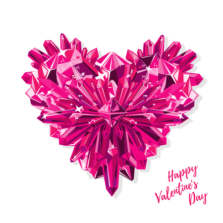 Greeting card for Valentines day. Purple heart with crystals realistic vector isolated on white background.
