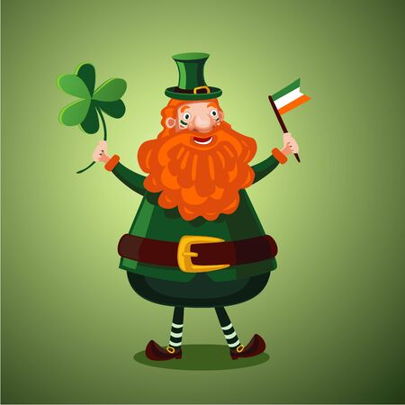 Illustration for Saint Patrick day. Funny cartoon leprechaun with clover and Irish flag.