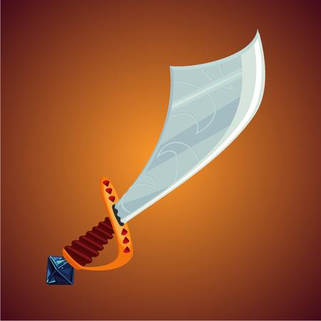 Fantasy pirate saber. Game design concept. Cartoon sword icon. Magic weapon.