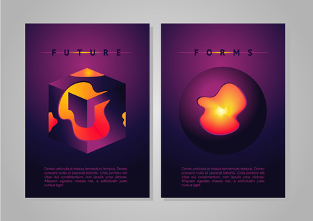 Future forms vector cover with vibrant gradient and plasma. Abstract poster.