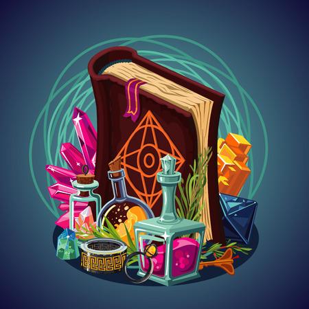 Fantasy game equipment. Magic background. Concept art. Spellbook and laboratory. Vector cartoon.