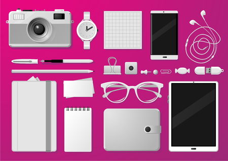 Business identity mock up. White templates. Creative brand stationery and devices. Isolated vector objects.