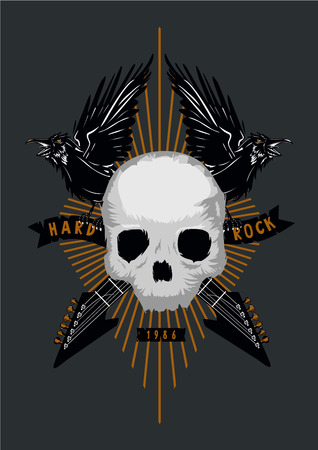 Heavy metal tattoo. Rock music poster with skull, birds and guitar. Grunge style. Vector illustration.