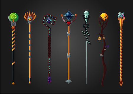 Magic wizard wand set. Fantasy staff collection.