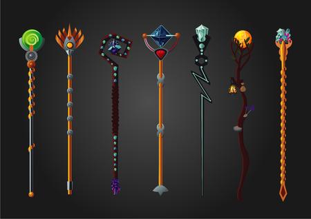 Magic wizard wand set. Fantasy staff collection.