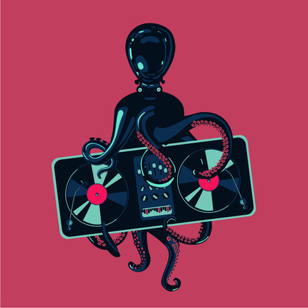 Hip-hop party poster template. Octopus tentacles with vinyl record turntable. Electronic music festival.