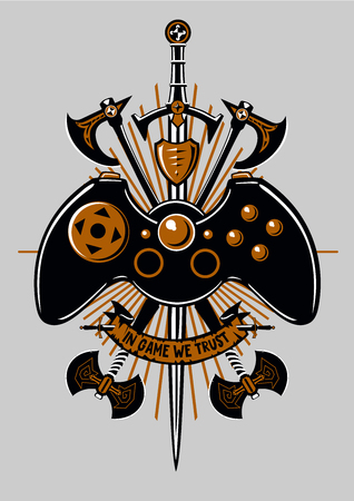 Gamers joystick. Video and computers game. Vintage sign with fantasy weapons. Illustration