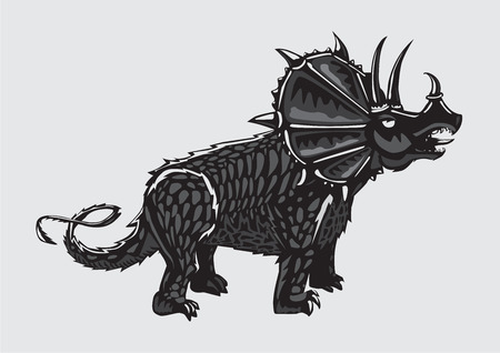 Dinosaur silhouette on isolated background. Black and white Triceratops. Tattoo style.
