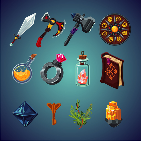 Set of magic items for computer fantasy game. Isolated cartoon icons set. Stock Vector - 97189035