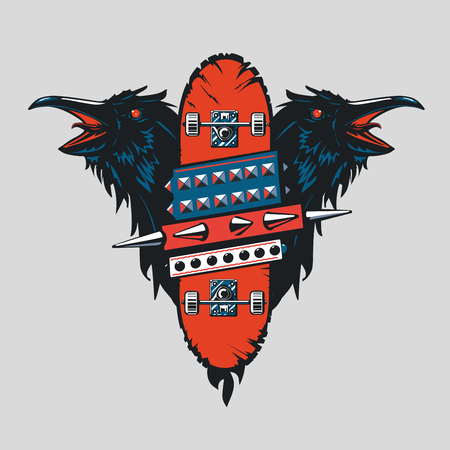 Skateboard vintage poster. Skate punk emblem with birds. Tattoo style. 일러스트