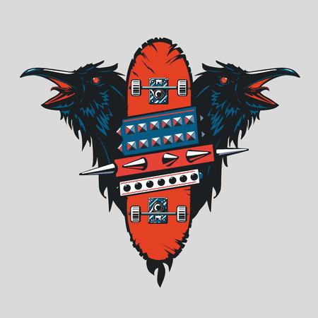 Skateboard vintage poster. Skate punk emblem with birds. Tattoo style. Illustration