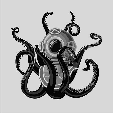 Vintage diving suit with octopus. Retro scuba helmet and tentacles. Tattoo style.