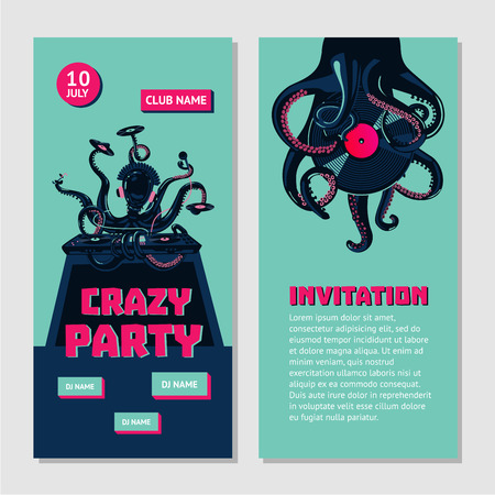 Hip-hop party bilateral invitation for nightclub with octopus dj. Underground music event