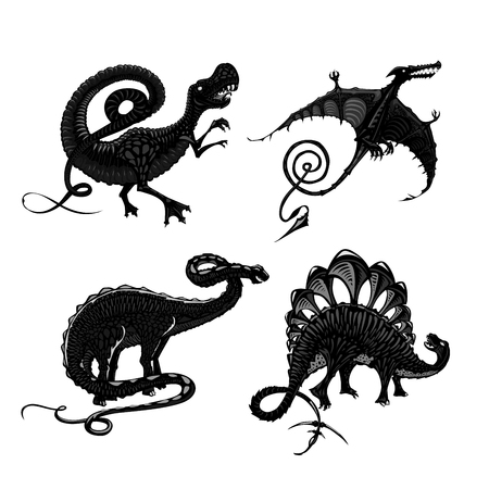 Dinosaurs black silhouette isolated on white. Tyrannosaurus, pterodactyl, stegosaurus and apatosaurus. Tattoo style. Vectores