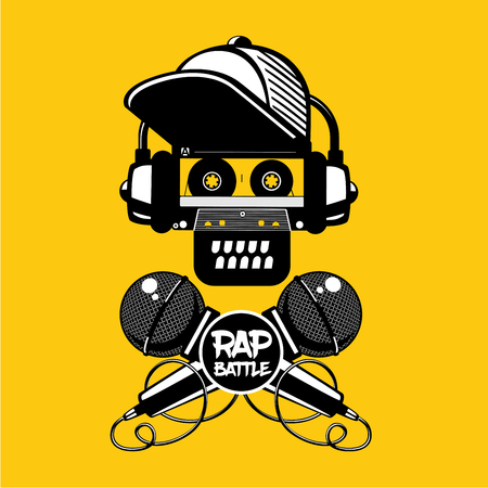 Rap battle sign with skull and two microphones. Retro style illustration. Hip-hop party. Illustration