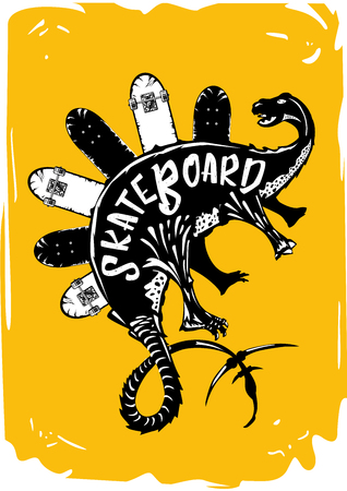 Vintage poster for extreme sport. Dinosaur with skateboards. Tattoo style. Иллюстрация