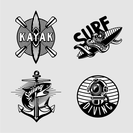 Exterme activity. Water sport vintage embleme set with kayak, scuba, anchor and surfboard. Black and white t shirt prints. Vettoriali