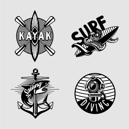 Exterme activity. Water sport vintage embleme set with kayak, scuba, anchor and surfboard. Black and white t shirt prints. Çizim