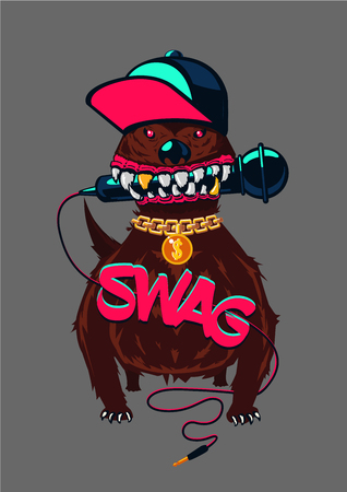 Rap music, swag culture. Hip-hop poster with dog. Urban street style. Çizim