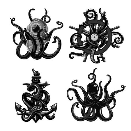 Tatuaje en blanco y negro con pulpo. Tentáculos con casco de ancla y yelmo. Aislado en blanco colección de imágenes prediseñadas.