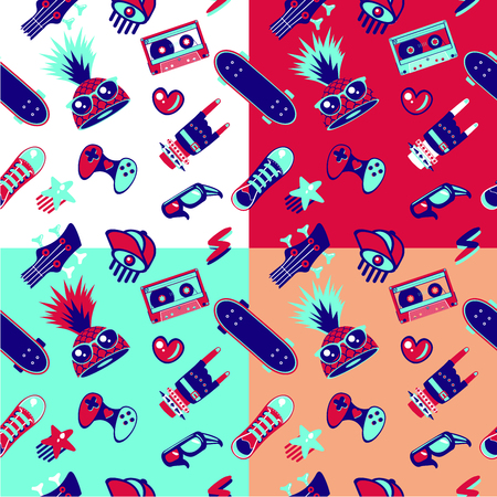 Funky seamless pattern with teenagers culture elements. Teens fashion, bright vector texture.  イラスト・ベクター素材