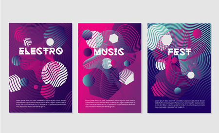 Invitation templates for night club party with dynamic shapes.Dance music festival with abstract geometric smooth line. Illustration
