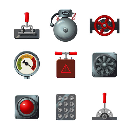 Vector icons set with industrial design elements. Analog interface object isolated on white. Levers, switches, buttons and indicators