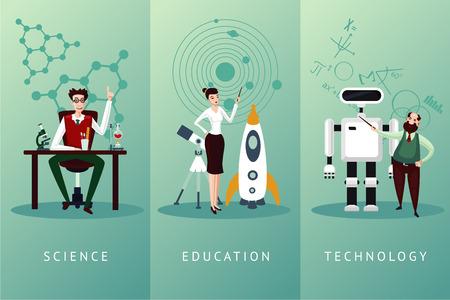 Concetto di scienza e istruzione. Set di personaggi dei cartoni animati di scienziato vettoriale. Raccolta di sfondi tecnologici.