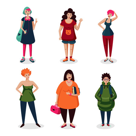 Everyday women in casual wear.Girls cartoon character set isolated on white. Ordinary female characters icon collection, flat style. Middle age people. Ilustração