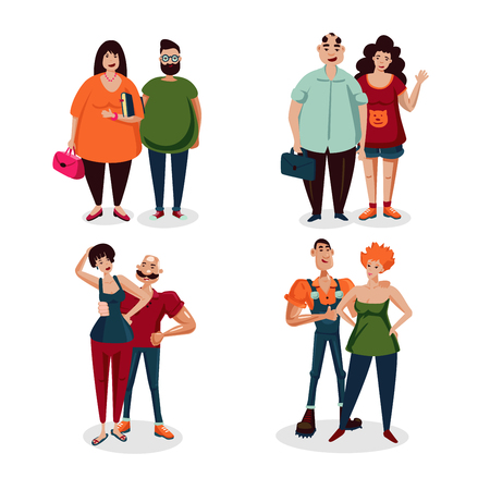 Isolated on white cartoon character. Casual couple vector people set. Ordinary people collection.