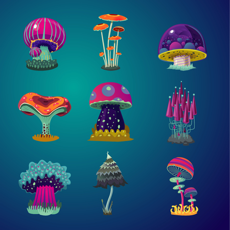 Magic cartoon mushrooms icons set. Fantasy object vector illustration. Game design element collection.