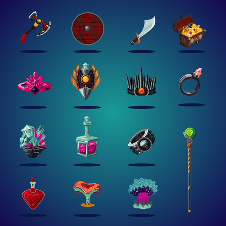 Legendary asset. Set of magic items and resource for computer fantasy game. Isolated cartoon icons set. Ilustrace