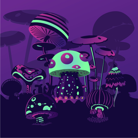 Magic landscape. Fantasy backround wth neon mushrrooms. Computer game concept.