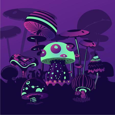 Paesaggio magico. Sfondo fantasia con funghi al neon. Concetto di gioco per computer.