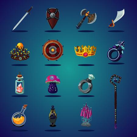 Legendäres Gut. Satz von magischen Gegenständen und Ressourcen für Computer-Fantasy-Spiele. Isolierte Cartoon-Symbole gesetzt. Vektorgrafik
