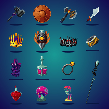 Legendary asset. Set of magic items and resource for computer fantasy game. Isolated cartoon icons set. Illustration