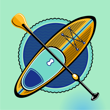 SUP. Standup padle boarding vector sign. Vintage icon on isolated backround. Surf board and paddle. Vettoriali