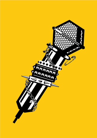 Rock and rap tattoo. Music poster with microphone. Black and white lineart illustration.
