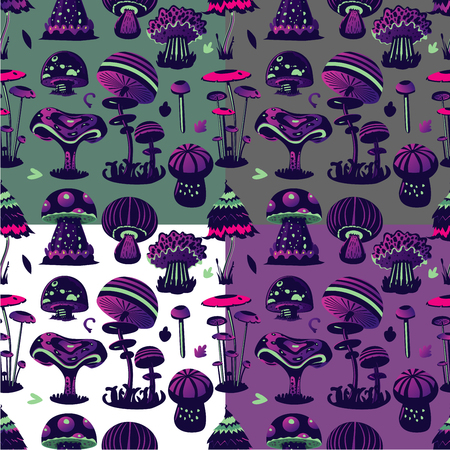 Vector seamless pattern with magic mushroom. Cartoon background. Decorative texture. Stock Photo