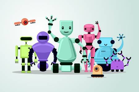 Group of cartoon robots on white background. Cyborgs, androids and drone. Vector illustration. Stock Illustratie