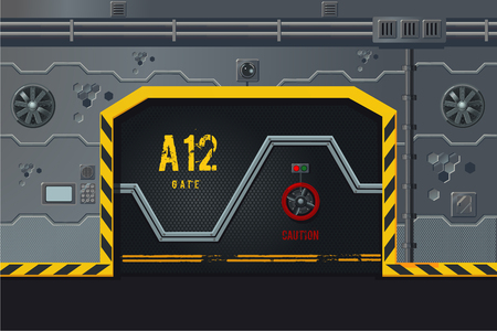 Futuristische Raumschiffwand mit Tür. Konzept der Game-Design-Ebene. Science-Fiction-Hintergrund.