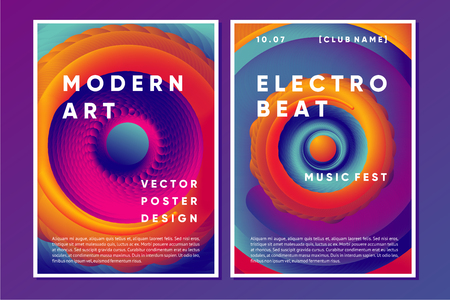 Electronic music poster design with vibrant vortex. Night club abstract background with color gradient shapes. Vector template. Çizim