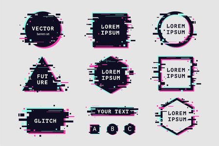 Glitch effect banners and frame set. Vector clipart elements. Futuristic design with glitchy abstract shapes.