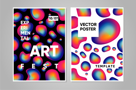 Art and music poster template with trendy background. Liquid futuristic shapes. Abstract vector gradient. Experimental festival.