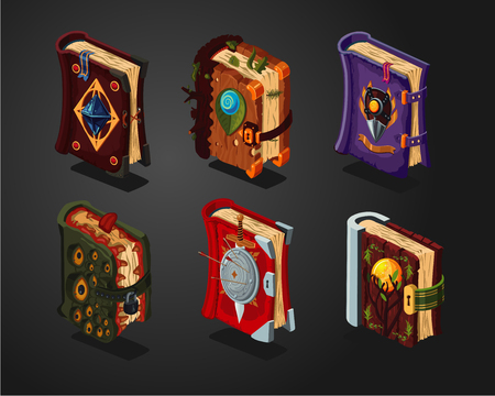 Magic book icons set on isolated background.Game design concept. Fantasy cartoon covers. Vector illustration.