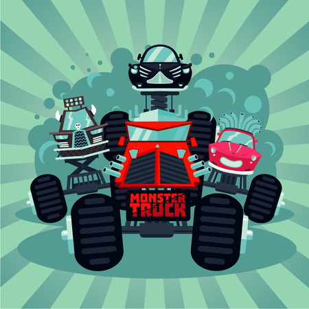 Monster truck catoon illustration with big car. Vector background. Extreme sport race. Çizim