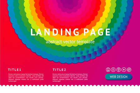 Landing page with abstract geometric element. Vector background. Web design minimal template with vibrant rainbow gradient. Çizim