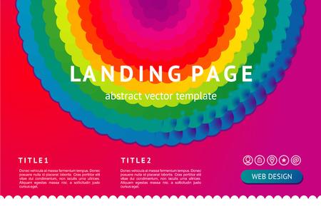 Landing page with abstract geometric element. Vector background. Web design minimal template with vibrant rainbow gradient. Illusztráció