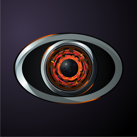 Digital data protection. Robot eye, material design style. Computer information and control. Realistic vector illustration.
