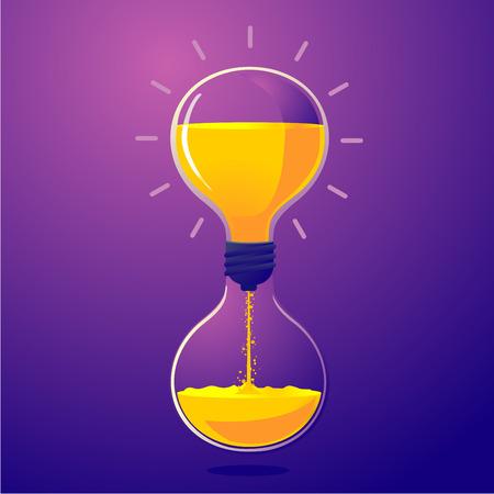 Light bulb and sand clock. Creative idea for deadline. Vector illustration. Time managment metaphor.